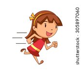 girl running  vector... | Shutterstock .eps vector #305897060