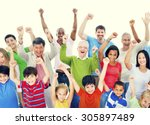group of people community... | Shutterstock . vector #305897489