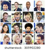 collage diverse faces group... | Shutterstock . vector #305902280