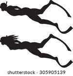 divers | Shutterstock .eps vector #305905139
