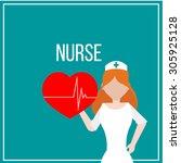 nurse illustration over color... | Shutterstock .eps vector #305925128