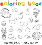 set of fruits and berries... | Shutterstock . vector #305946449