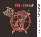 letterpress overprint vector...   Shutterstock .eps vector #305948549