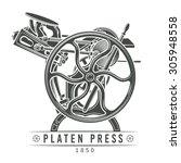 platen press vector... | Shutterstock .eps vector #305948558