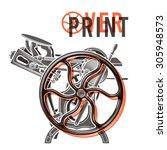 letterpress overprint vector...   Shutterstock .eps vector #305948573