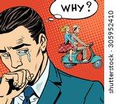 a man weeps love breakup... | Shutterstock .eps vector #305952410