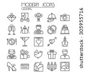 wedding icons set in thin line... | Shutterstock .eps vector #305955716
