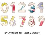 vector vintage figures set | Shutterstock .eps vector #305960594