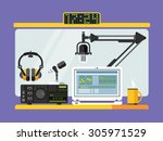 professional radio station... | Shutterstock .eps vector #305971529