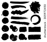 vector set of grunge brush... | Shutterstock .eps vector #305972450