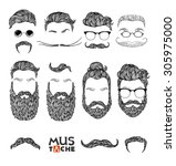 hand drawn mustache beard and... | Shutterstock .eps vector #305975000