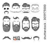 hand drawn mustache beard and...   Shutterstock .eps vector #305975000