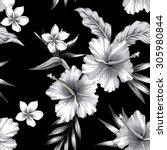 tropic hibiscus flowers ... | Shutterstock .eps vector #305980844