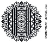 black and white mandala round... | Shutterstock .eps vector #306003653