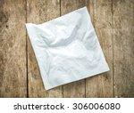 white paper napkin on old... | Shutterstock . vector #306006080