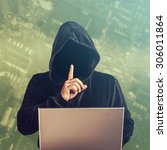 hacker at work. cross processed ... | Shutterstock . vector #306011864