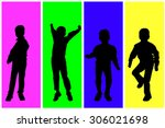 vector silhouette of children... | Shutterstock .eps vector #306021698
