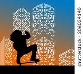 vector silhouette skateboarder... | Shutterstock .eps vector #306024140