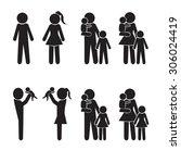 family icons set  happy family... | Shutterstock .eps vector #306024419