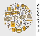back to school background... | Shutterstock .eps vector #306032174