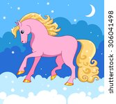pink pony is on the clouds in...   Shutterstock .eps vector #306041498