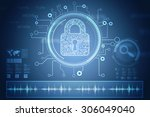 safety concept  closed padlock... | Shutterstock . vector #306049040