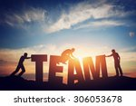 people connect letters to... | Shutterstock . vector #306053678