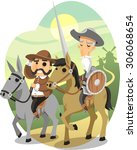 don quixote vector cartoon... | Shutterstock .eps vector #306068654