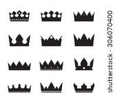 set of black vector crowns | Shutterstock .eps vector #306070400