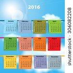 calendar for 2016 like laundry... | Shutterstock .eps vector #306082208
