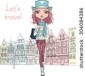 fashionable hipster girl... | Shutterstock . vector #306084386