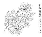 vector beautiful monochrome... | Shutterstock .eps vector #306095870