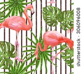 seamless pattern with flamingo... | Shutterstock .eps vector #306096008