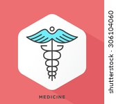caduceus icon with dark grey... | Shutterstock .eps vector #306104060