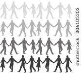 people dancing hands hold  ... | Shutterstock .eps vector #306105203