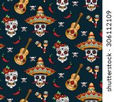 mexican sugar skulls with chili ... | Shutterstock .eps vector #306112109