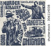 gangsters 1930s set  hand drawn ... | Shutterstock .eps vector #306114038