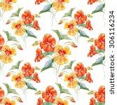 watercolor pattern nasturtium ... | Shutterstock . vector #306116234
