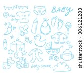 collection of doodle vector... | Shutterstock .eps vector #306121283