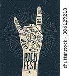 rock festival poster  flyer.... | Shutterstock .eps vector #306129218