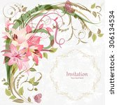 romantic invitation card with... | Shutterstock .eps vector #306134534