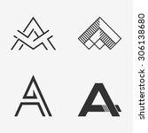 the set of letter a sign  logo  ... | Shutterstock .eps vector #306138680