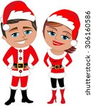 man and woman in santa claus... | Shutterstock .eps vector #306160586