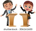 businesswoman and businessman... | Shutterstock .eps vector #306161600