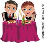 couple having a romantic dinner ... | Shutterstock .eps vector #306162170