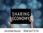 sharing economy card with bokeh ... | Shutterstock . vector #306167276