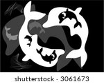 dolphin an black white | Shutterstock .eps vector #3061673