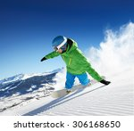 snowboarder skiing in high... | Shutterstock . vector #306168650