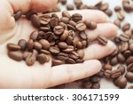 coffee beans on a palm. many... | Shutterstock . vector #306171599