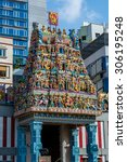 Small photo of SINGAPORE - 21 May 2015 :The Sri Veeramakaliamman Temple is dedicated to the Hindu goddess Kali, fierce embodiment of Shakti , located in the middle of Little India in the southern part of Singapore.